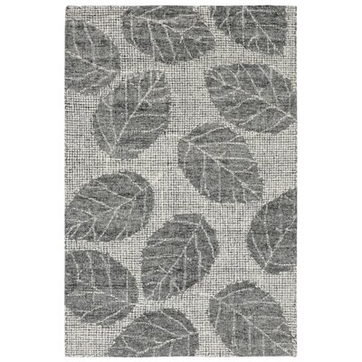Claremont Leaf Hand-Tufted Wool Gray Area Rug Rug Size: Rectangle 5 x 76