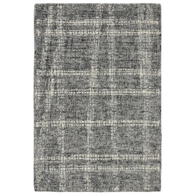 Gritton Plaid Hand-Tufted Wool Gray Area Rug