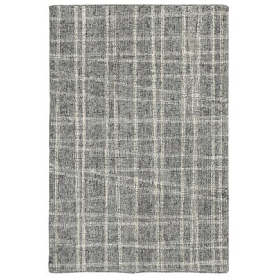 Gritton Plaid Hand-Tufted Wool Gray Area Rug Rug Size: Rectangle 36 x 56