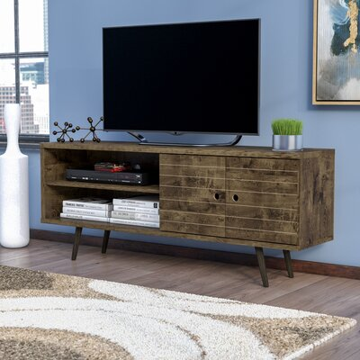 Lewis 62.99 Mid Century - Modern TV Stand with 3 Shelves and 2 Doors in White  with Solid Wood Legs Color: Rustic Brown