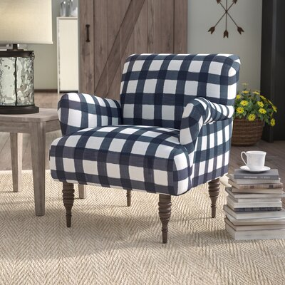Linnet Patterned Armchair Upholstery: Buffalo Square Blue OGA
