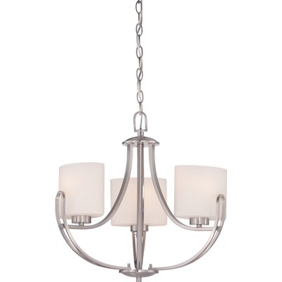 Kearse 3-Light Mini Chandelier Finish: Brushed Nickel