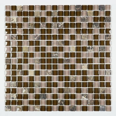 Square Penny 0.6 x 0.6 Marble Mosaic Tile in Brown/Pink