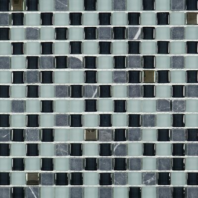 Square Penny 0.6 x 0.6 Marble Mosaic Tile in Gray/Black