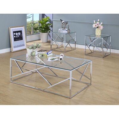 Strudwick 3 Piece Coffee Table Set Table Base Color: Chrome