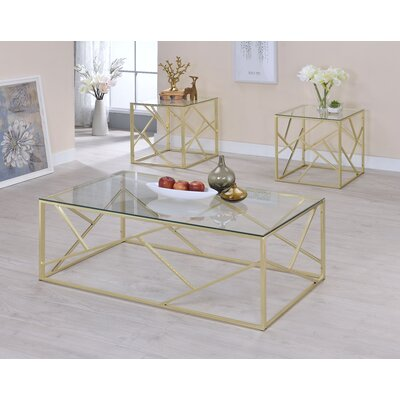 Strudwick 3 Piece Coffee Table Set Table Base Color: Champagne