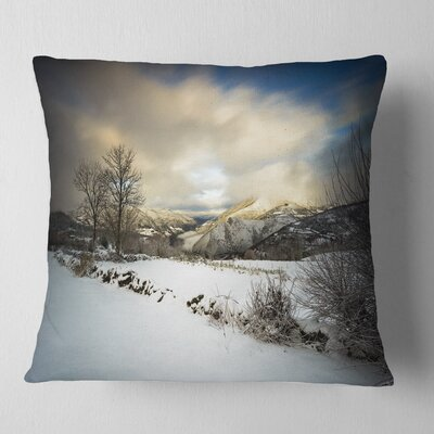 Snow Storm in Spain Landscape Photography Throw Pillow Size: 26 x 26, Product Type: Euro Pillow