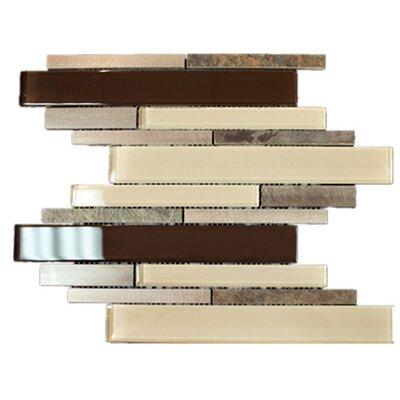 Random Sized Metal Mosaic Tile in Beige/Brown