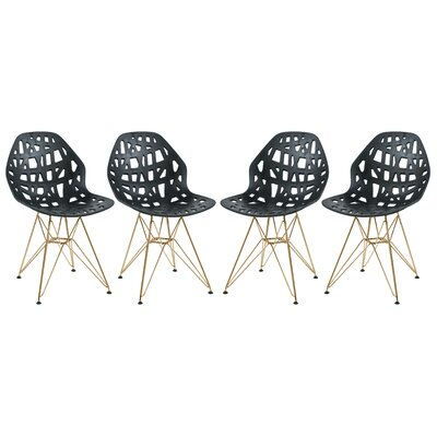 Mayville Molded Dining Chair Color: Black/Gold