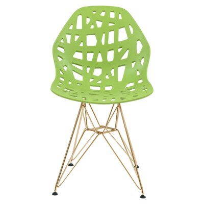 Mayville Molded Dining Chair Color: Green/Gold