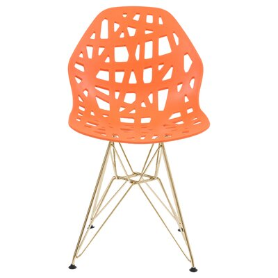 Mayville Molded Dining Chair Color: Orange/Gold