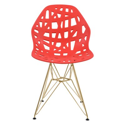 Mayville Molded Dining Chair Color: Red/Gold