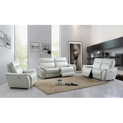 Meister Electric 3 Piece Leather Living Room Set