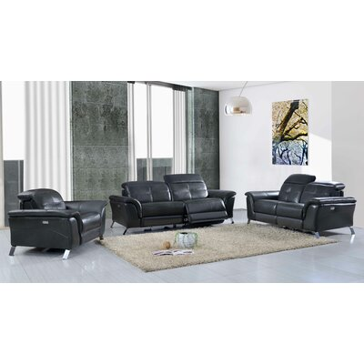 Tom Electric Leather 3 Piece Leather Living Room Set