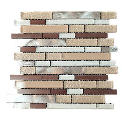 Random Sized Mixed Material Tile in Beige/Brown