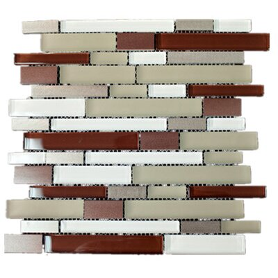 Random Sized Mixed Material Tile in Beige/Red
