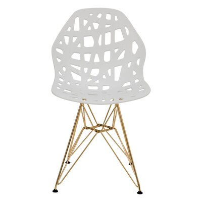 Mayville Molded Dining Chair Color: White/Gold