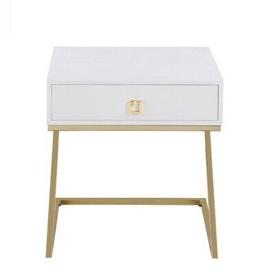 Flemings End Table with Storage Color: White