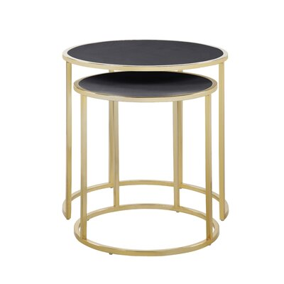 Flemingdon 2 Piece Nesting Tables Table Top Color: Black