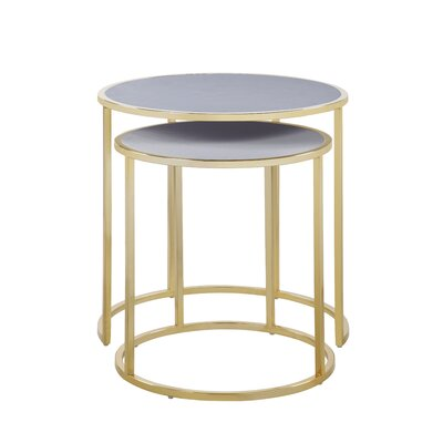Flemingdon 2 Piece Nesting Tables Table Top Color: Gray