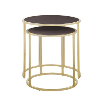 Flemingdon 2 Piece Nesting Tables Table Top Color: Brown