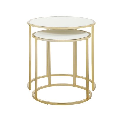 Flemingdon 2 Piece Nesting Tables Table Top Color: Cream