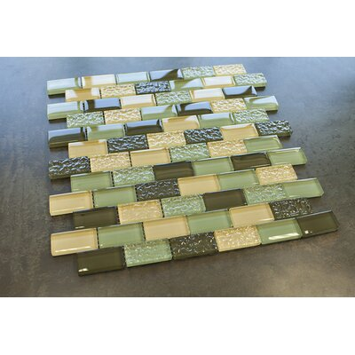 1 x 2 Glass Tile in Green/Yellow