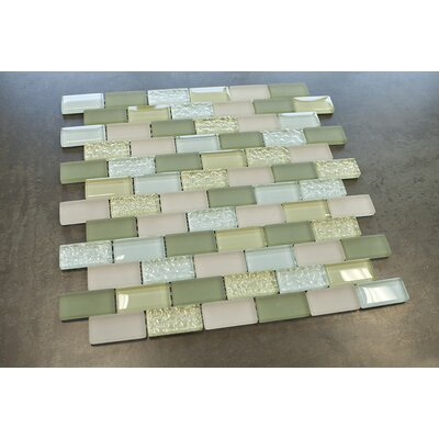 1 x 2 Glass Tile in Greenn/Blue