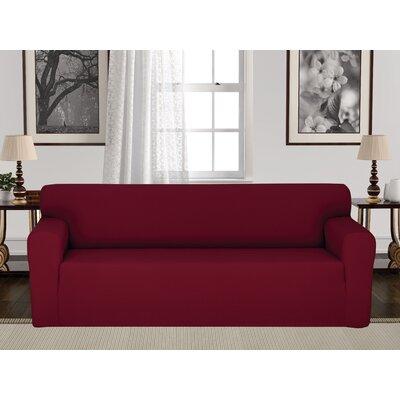 Box Cushion Stretch Sofa Slipcover Upholstery: Burgundy