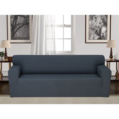Box Cushion Stretch Sofa Slipcover Upholstery: Gray