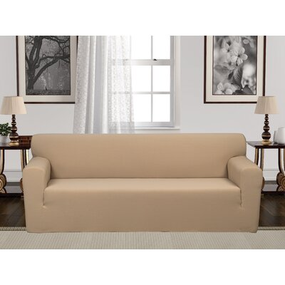 Box Cushion Stretch Sofa Slipcover Upholstery: Beige