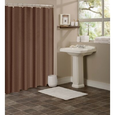 Figaro Waffle Shower Curtain Color: Brown
