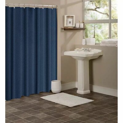 Figaro Waffle Shower Curtain Color: Navy