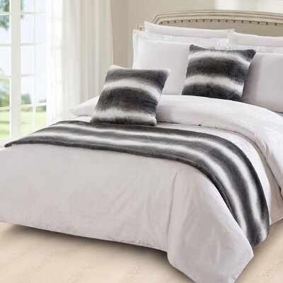 Imperial Beach Striped Faux Fur 3 Piece Bed Runner Set