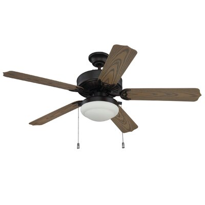 52 Kawamura 5 Blade Ceiling Fan Finish: Black/Aged Bronze Brushed Blades