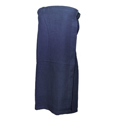 Pimlico Women's Waffle Weave Spa Wrap Bathrobe Color: Navy
