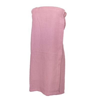 Pimlico Women's Waffle Weave Spa Wrap Bathrobe Color: Light Pink