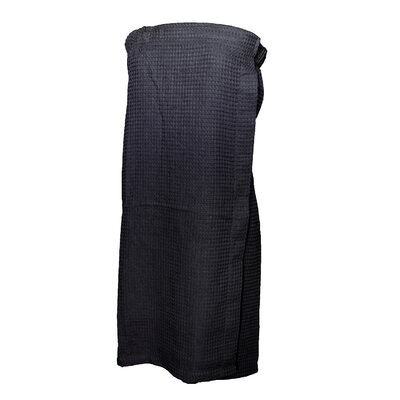 Pimlico Womens Waffle Weave Spa Wrap Bathrobe Color: Black