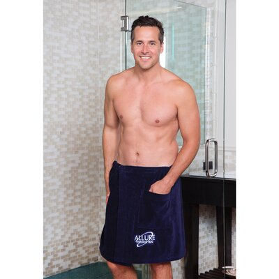 Mens Terry Velour Wrap Bath Towel Color: Black