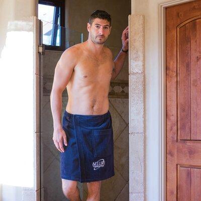 Mens Terry Velour Wrap Bath Towel Color: Navy