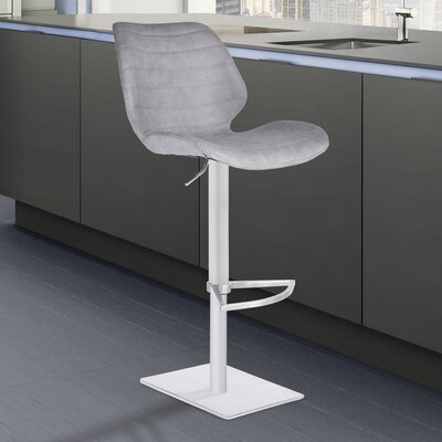 Freed Adjustable Height Swivel Bar Stool Upholstery: Dark Blue