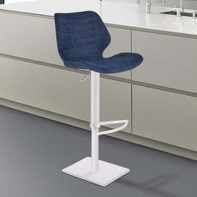 Freed Adjustable Height Swivel Bar Stool Upholstery: Gray