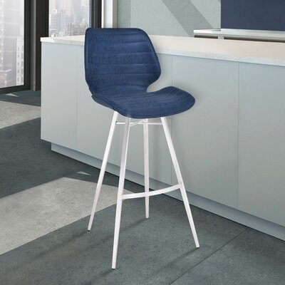 Cobel 26 Bar Stool Upholstery: Dark Blue