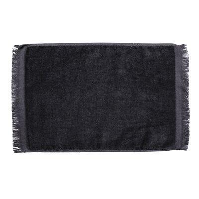 Pequoig Premium Fringed Velour Hand Towel (Set of 6) Color: Black