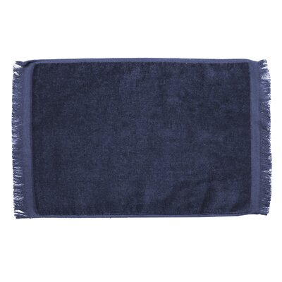 Pequoig Premium Fringed Velour Hand Towel (Set of 6) Color: Navy