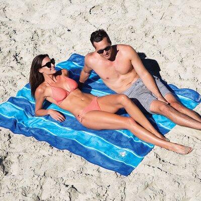 Anso Stripe Microfiber Beach Towel Color: Aqua/Blue
