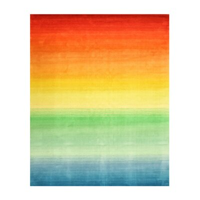 Kerish Contemporary Stripe Hand-Tufted Wool Orange Area Rug