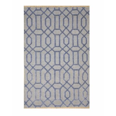 Catchings Transitional Geometric Links Hand-Knotted Wool Blue Area Rug Rug Size: Rectangle 9 x 12