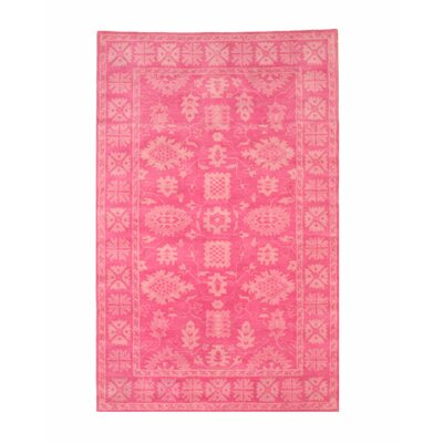 Meliton Traditional Oriental Overdyed Hand-Tufted Wool Pink Area Rug Rug Size: Rectangle 5 x 8