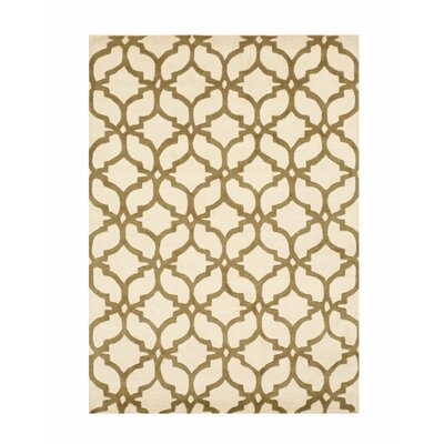 Innes Traditional Trellis Hand-Tufted Wool Ivory/Brown Area Rug Rug Size: Rectangle 5 x 7